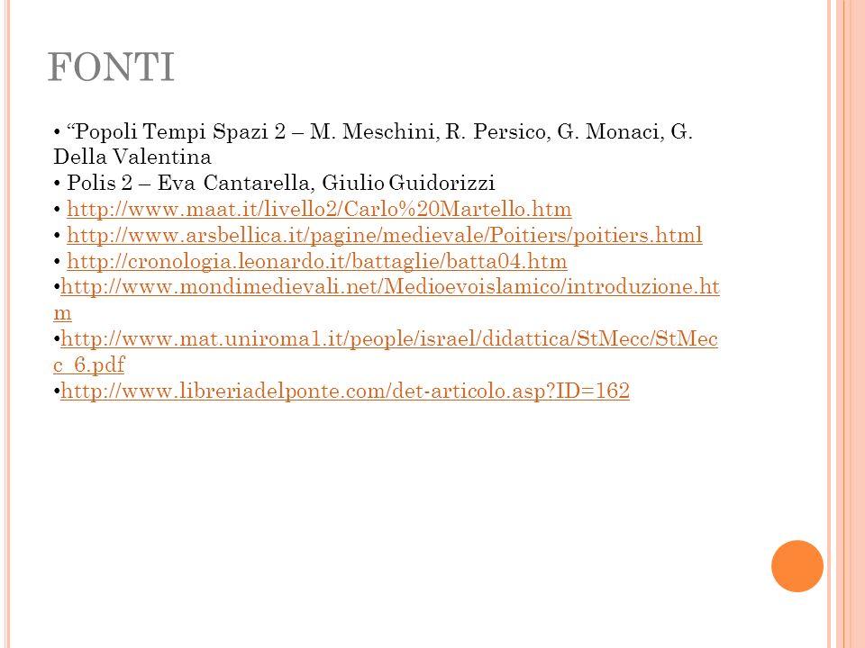 FONTI Popoli Tempi Spazi 2 – M. Meschini, R. Persico, G. Monaci, G. Della Valentina Polis 2 – Eva Cantarella, Giulio Guidorizzi http://www.maat.it/liv