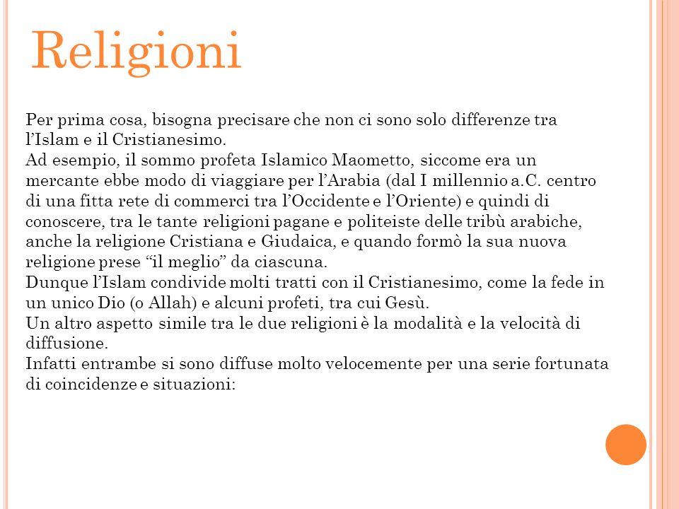 Religioni Per prima cosa, bisogna precisare che non ci sono solo differenze tra lIslam e il Cristianesimo. Ad esempio, il sommo profeta Islamico Maome