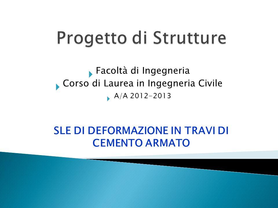 Facoltà di Ingegneria Corso di Laurea in Ingegneria Civile A/A 2012-2013 SLE DI DEFORMAZIONE IN TRAVI DI CEMENTO ARMATO