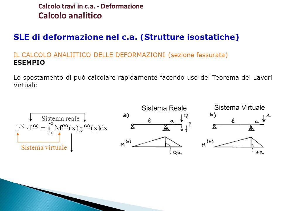 SLE di deformazione nel c.a. (Strutture isostatiche) IL CALCOLO ANALIITICO DELLE DEFORMAZIONI (sezione fessurata) ESEMPIO Lo spostamento di può calcol