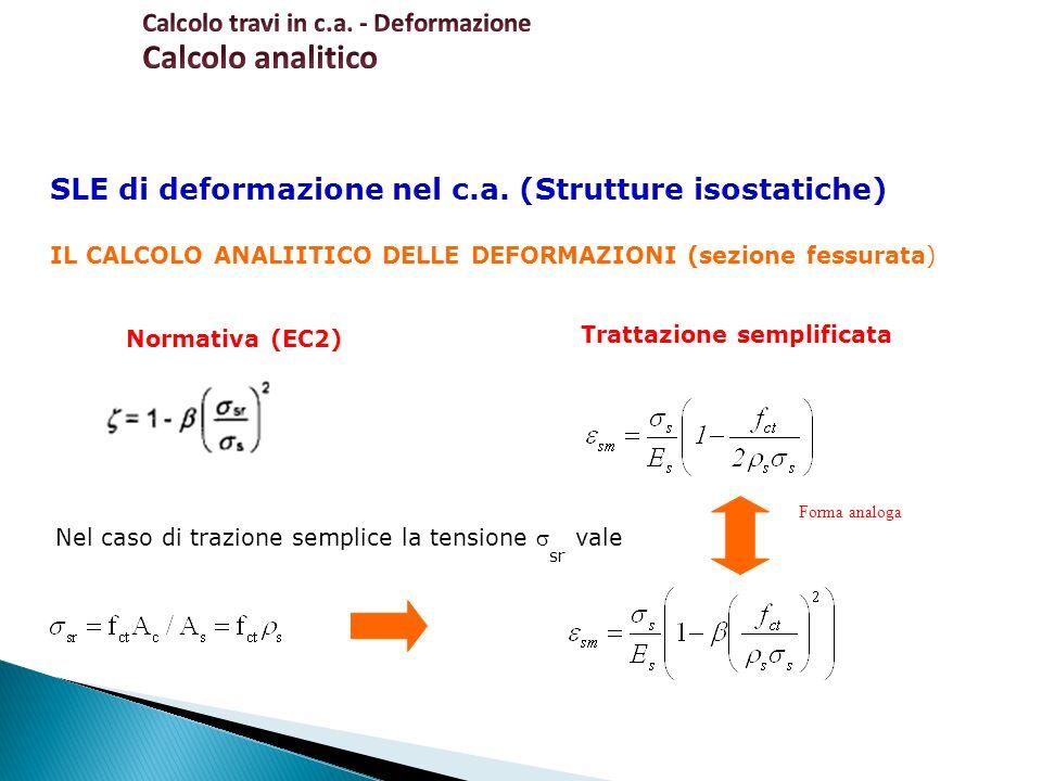 SLE di deformazione nel c.a. (Strutture isostatiche) IL CALCOLO ANALIITICO DELLE DEFORMAZIONI (sezione fessurata) Trattazione semplificata Normativa (