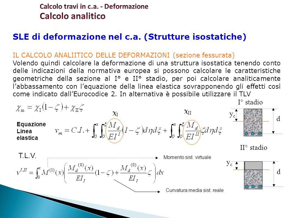 SLE di deformazione nel c.a. (Strutture isostatiche) IL CALCOLO ANALIITICO DELLE DEFORMAZIONI (sezione fessurata) Volendo quindi calcolare la deformaz