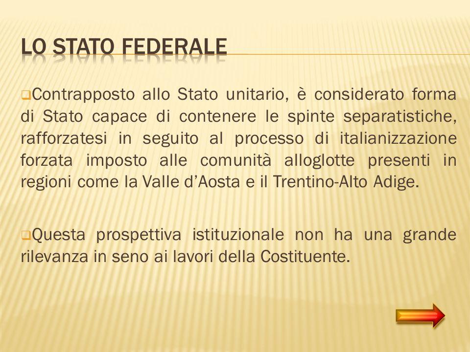 Contrapposto allo Stato unitario, è considerato forma di Stato capace di contenere le spinte separatistiche, rafforzatesi in seguito al processo di it