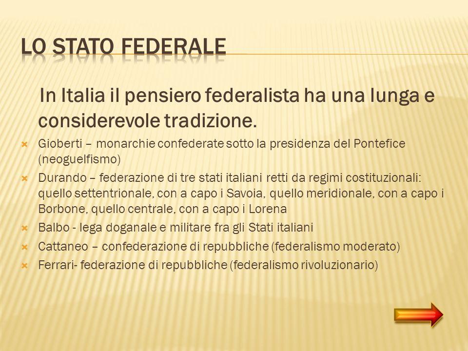 In Italia il pensiero federalista ha una lunga e considerevole tradizione. Gioberti – monarchie confederate sotto la presidenza del Pontefice (neoguel