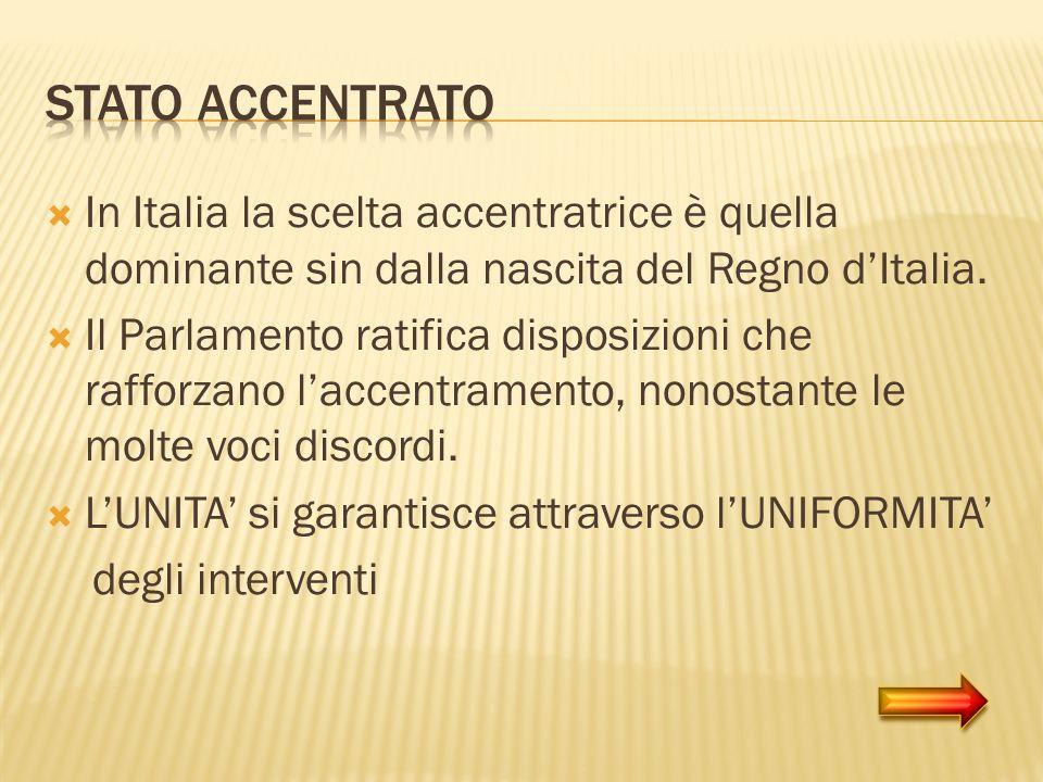 In Italia la scelta accentratrice è quella dominante sin dalla nascita del Regno dItalia. Il Parlamento ratifica disposizioni che rafforzano laccentra