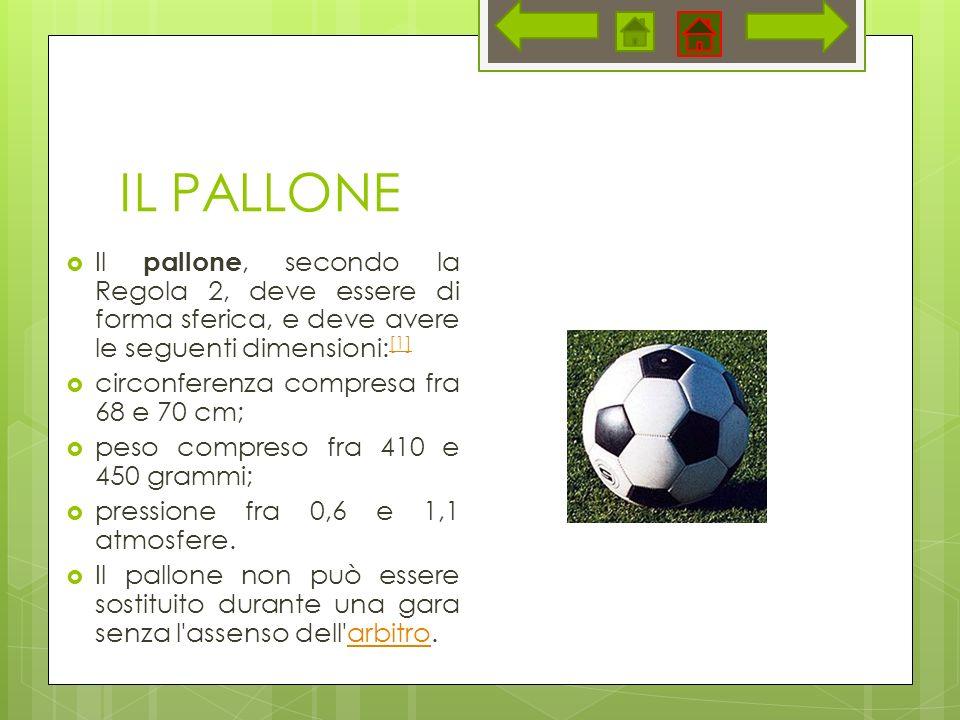 IL PALLONE Il pallone, secondo la Regola 2, deve essere di forma sferica, e deve avere le seguenti dimensioni: [1] [1] circonferenza compresa fra 68 e 70 cm; peso compreso fra 410 e 450 grammi; pressione fra 0,6 e 1,1 atmosfere.