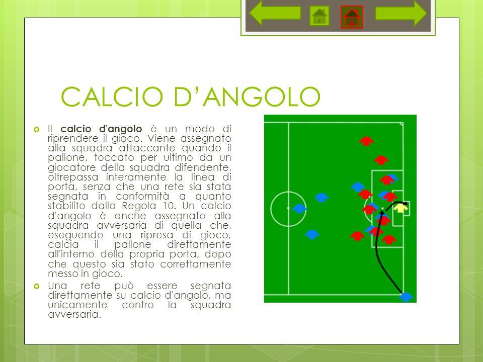 CALCIO DANGOLO Il calcio d angolo è un modo di riprendere il gioco.