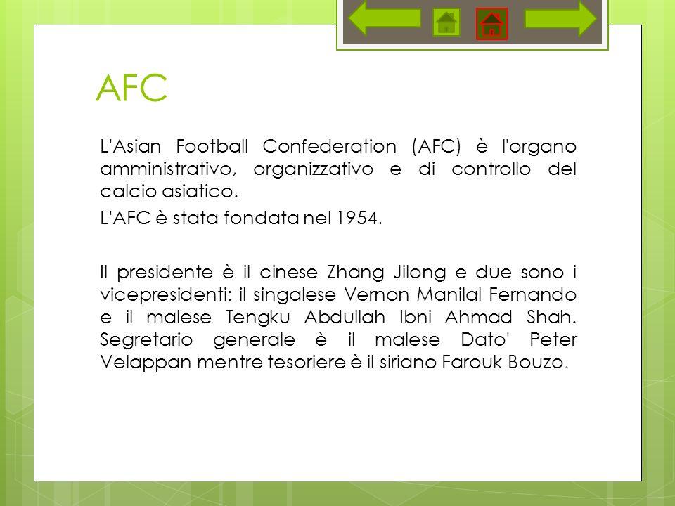 AFC L Asian Football Confederation (AFC) è l organo amministrativo, organizzativo e di controllo del calcio asiatico.