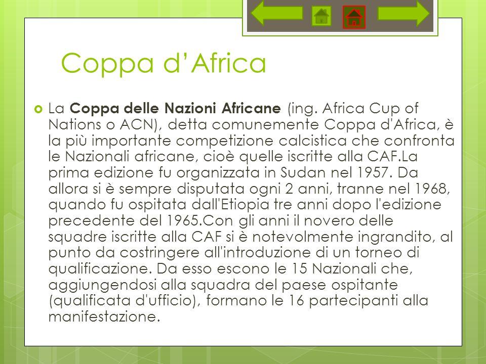 Coppa dAfrica La Coppa delle Nazioni Africane (ing. Africa Cup of Nations o ACN), detta comunemente Coppa d'Africa, è la più importante competizione c