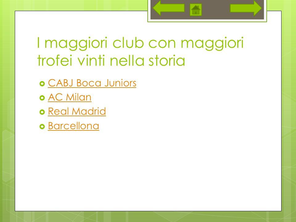 I maggiori club con maggiori trofei vinti nella storia CABJ Boca Juniors AC Milan Real Madrid Barcellona