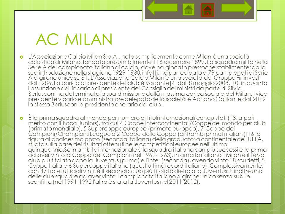 AC MILAN L Associazione Calcio Milan S.p.A., nota semplicemente come Milan,è una società calcistica di Milano, fondata presumibilmente il 16 dicembre 1899.