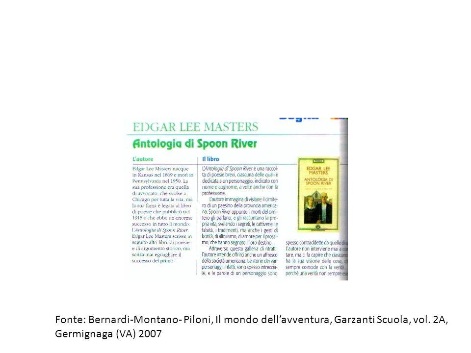 Fonte: Bernardi-Montano- Piloni, Il mondo dellavventura, Garzanti Scuola, vol. 2A, Germignaga (VA) 2007