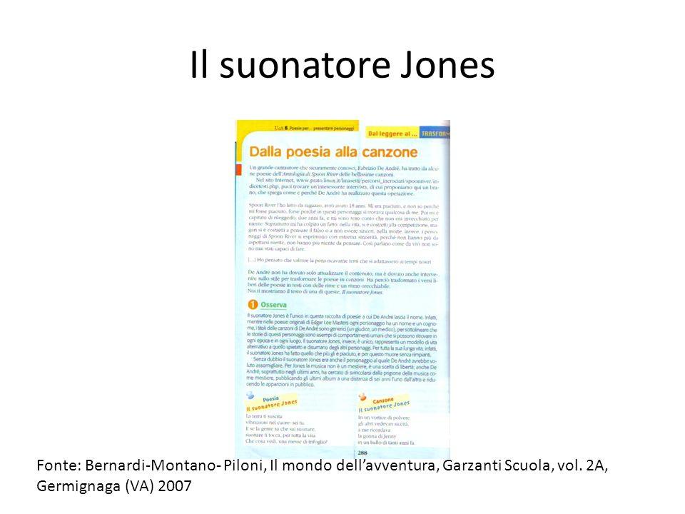 Il suonatore Jones Fonte: Bernardi-Montano- Piloni, Il mondo dellavventura, Garzanti Scuola, vol. 2A, Germignaga (VA) 2007