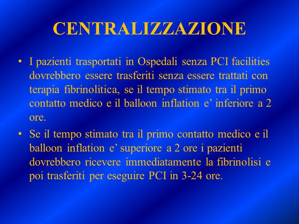 CENTRALIZZAZIONE I pazienti trasportati in Ospedali senza PCI facilities dovrebbero essere trasferiti senza essere trattati con terapia fibrinolitica,