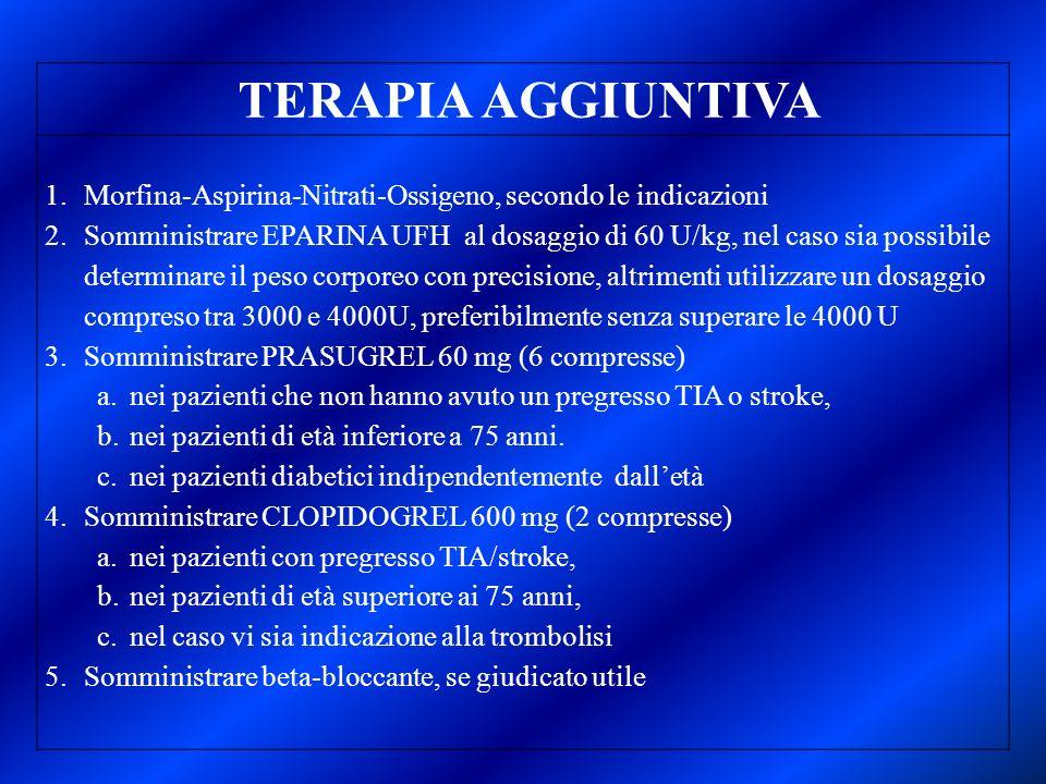 TERAPIA AGGIUNTIVA 1.Morfina-Aspirina-Nitrati-Ossigeno, secondo le indicazioni 2.Somministrare EPARINA UFH al dosaggio di 60 U/kg, nel caso sia possib