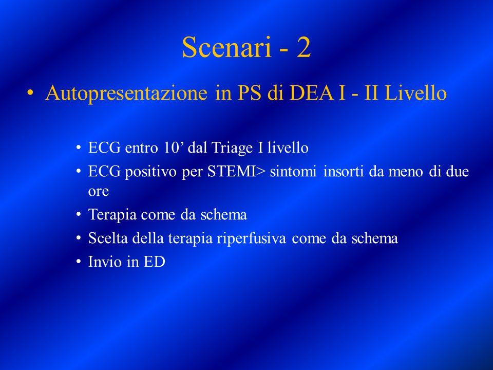 Autopresentazione in PS di DEA I - II Livello ECG entro 10 dal Triage I livello ECG positivo per STEMI> sintomi insorti da meno di due ore Terapia com