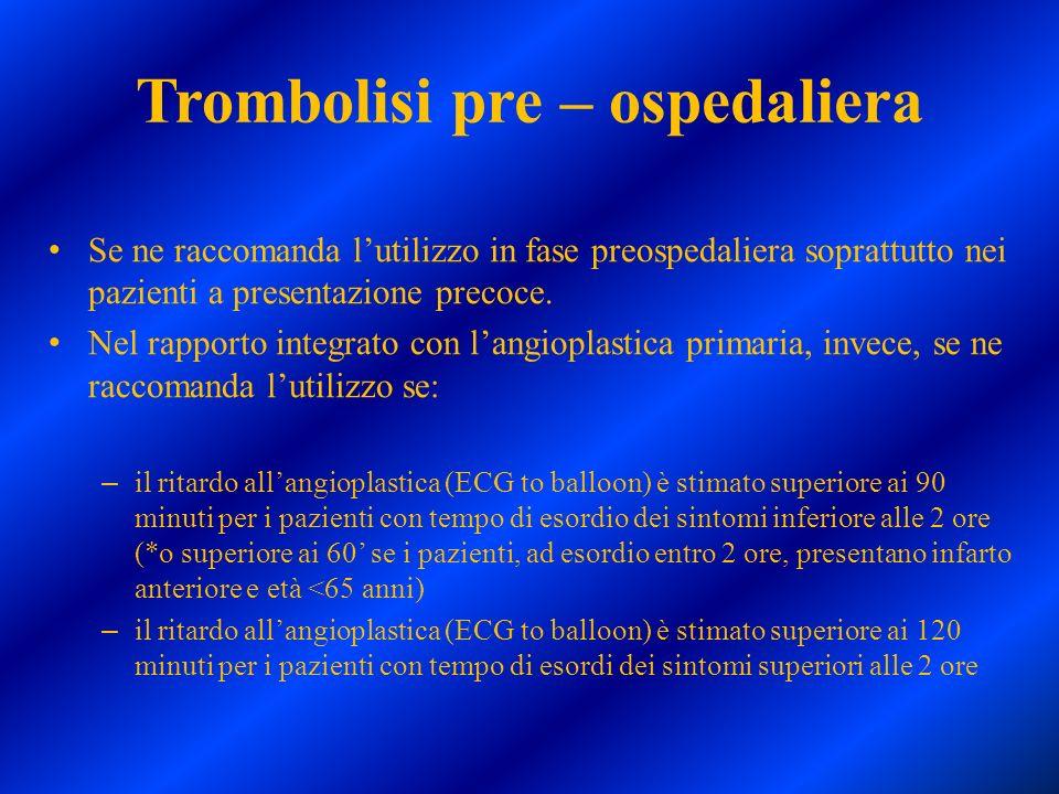 Trombolisi pre – ospedaliera Se ne raccomanda lutilizzo in fase preospedaliera soprattutto nei pazienti a presentazione precoce. Nel rapporto integrat