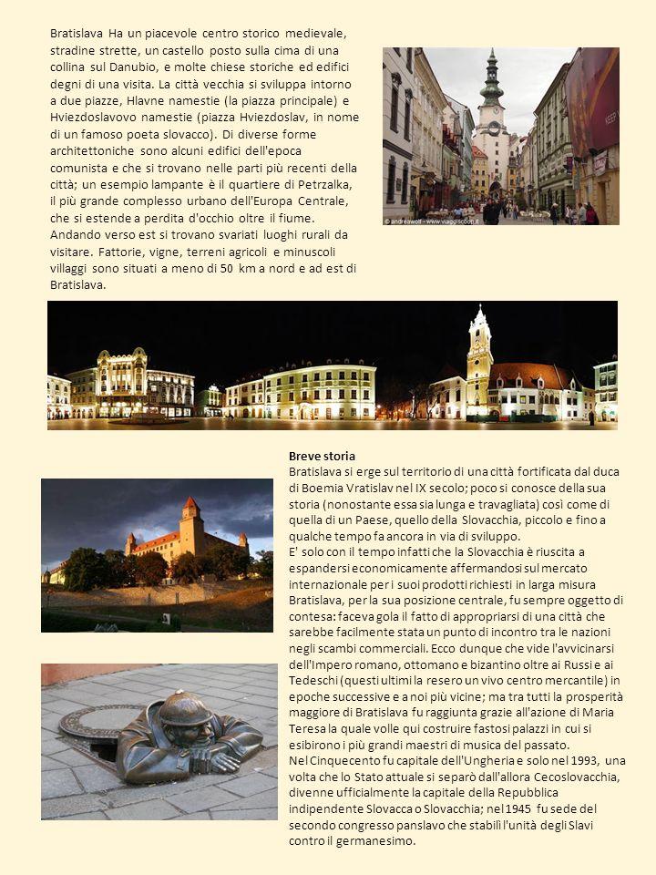 Breve storia Bratislava si erge sul territorio di una città fortificata dal duca di Boemia Vratislav nel IX secolo; poco si conosce della sua storia (