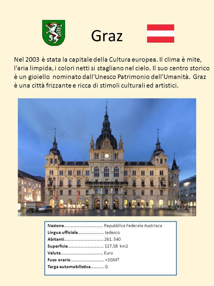 Graz Nazione……………………………… Repubblica Federale Austriaca Lingua ufficiale…………………… tedesco Abitanti……………………………… 261. 540 Superficie…………………………… 127,58 km2