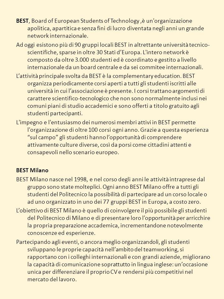 BEST, Board of European Students of Technology,è un'organizzazione apolitica, apartitica e senza fini di lucro diventata negli anni un grande network