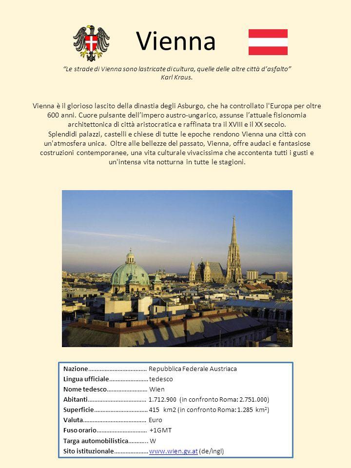 Vienna Nazione……………………………… Repubblica Federale Austriaca Lingua ufficiale…………………… tedesco Nome tedesco……………………. Wien Abitanti……………………………… 1.712.900 (i