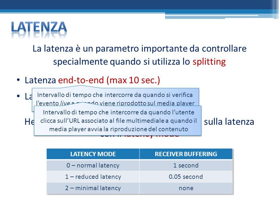 La latenza è un parametro importante da controllare specialmente quando si utilizza lo splitting Latenza end-to-end (max 10 sec.) Latenza di startup bassa Helix Server permette di variare i parametri sulla latenza con il latency mode Intervallo di tempo che intercorre da quando si verifica levento live a quando viene riprodotto sul media player Intervallo di tempo che intercorre da quando lutente clicca sullURL associato al file multimediale a quando il media player avvia la riproduzione del contenuto