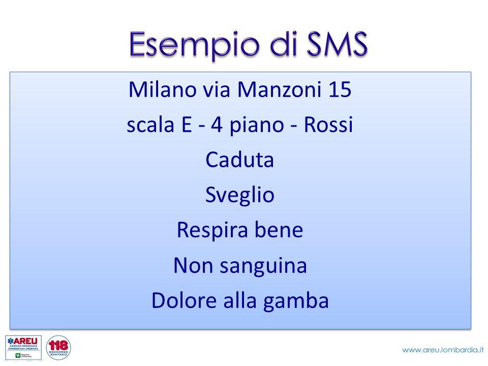 Milano via Manzoni 15 scala E - 4 piano - Rossi Caduta Sveglio Respira bene Non sanguina Dolore alla gamba Milano via Manzoni 15 scala E - 4 piano - R