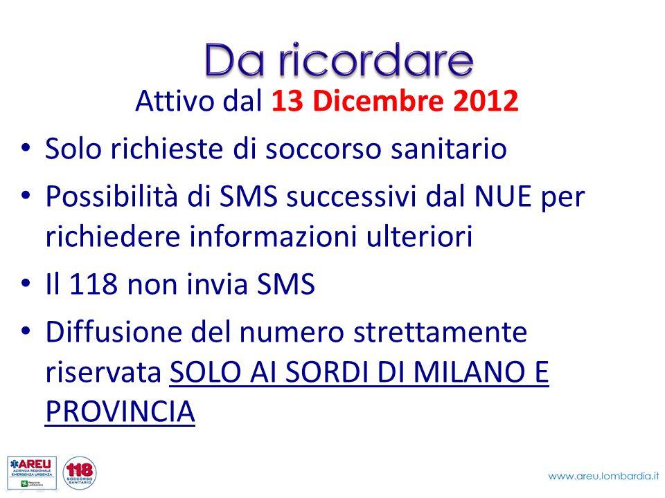 Attivo dal 13 Dicembre 2012 Solo richieste di soccorso sanitario Possibilità di SMS successivi dal NUE per richiedere informazioni ulteriori Il 118 no