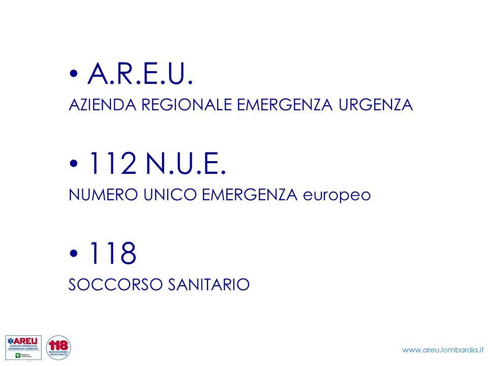 A.R.E.U. AZIENDA REGIONALE EMERGENZA URGENZA 112 N.U.E. NUMERO UNICO EMERGENZA europeo 118 SOCCORSO SANITARIO