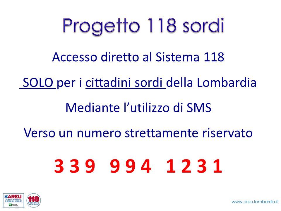 Accesso diretto al Sistema 118 SOLO per i cittadini sordi della Lombardia Mediante lutilizzo di SMS Verso un numero strettamente riservato 3 3 9 9 9 4 1 2 3 1