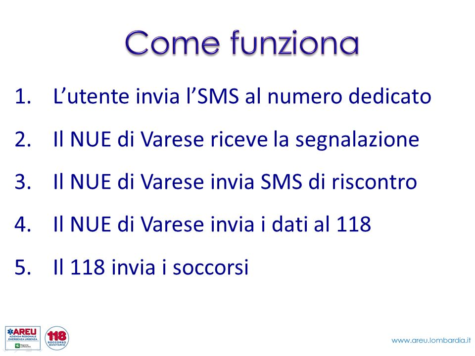 1.Lutente invia lSMS al numero dedicato 2.Il NUE di Varese riceve la segnalazione 3.Il NUE di Varese invia SMS di riscontro 4.Il NUE di Varese invia i
