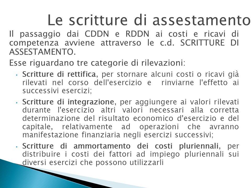 Il passaggio dai CDDN e RDDN ai costi e ricavi di competenza avviene attraverso le c.d. SCRITTURE DI ASSESTAMENTO. Esse riguardano tre categorie di ri