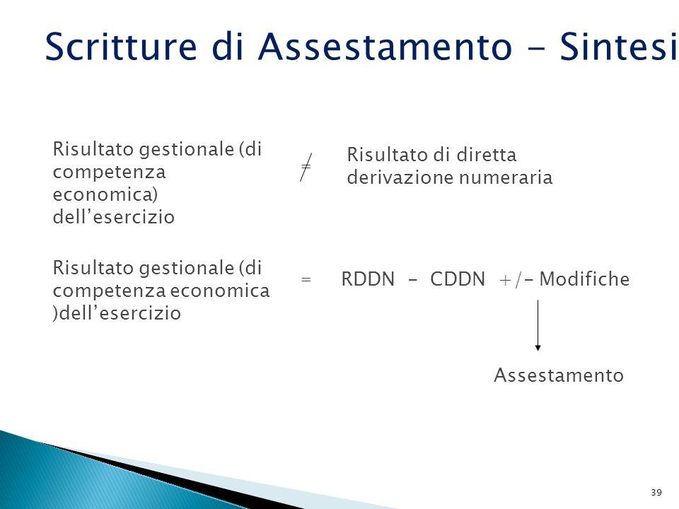 39 Risultato gestionale (di competenza economica) dellesercizio = RDDN - CDDN +/- Modifiche Assestamento = Risultato di diretta derivazione numeraria
