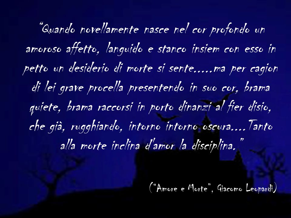 TUTTO E MALE This passage of Zibaldone was composed in 1826 and its the summary of the so-called cosmic pessimism.