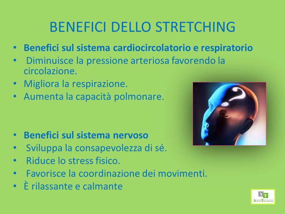 BENEFICI DELLO STRETCHING Benefici sul sistema cardiocircolatorio e respiratorio Diminuisce la pressione arteriosa favorendo la circolazione.