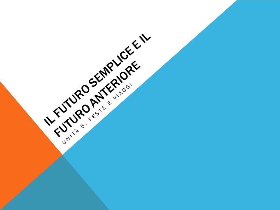 IL FUTURO SEMPLICE E IL FUTURO ANTERIORE UNITÀ 5: FESTE E VIAGGI