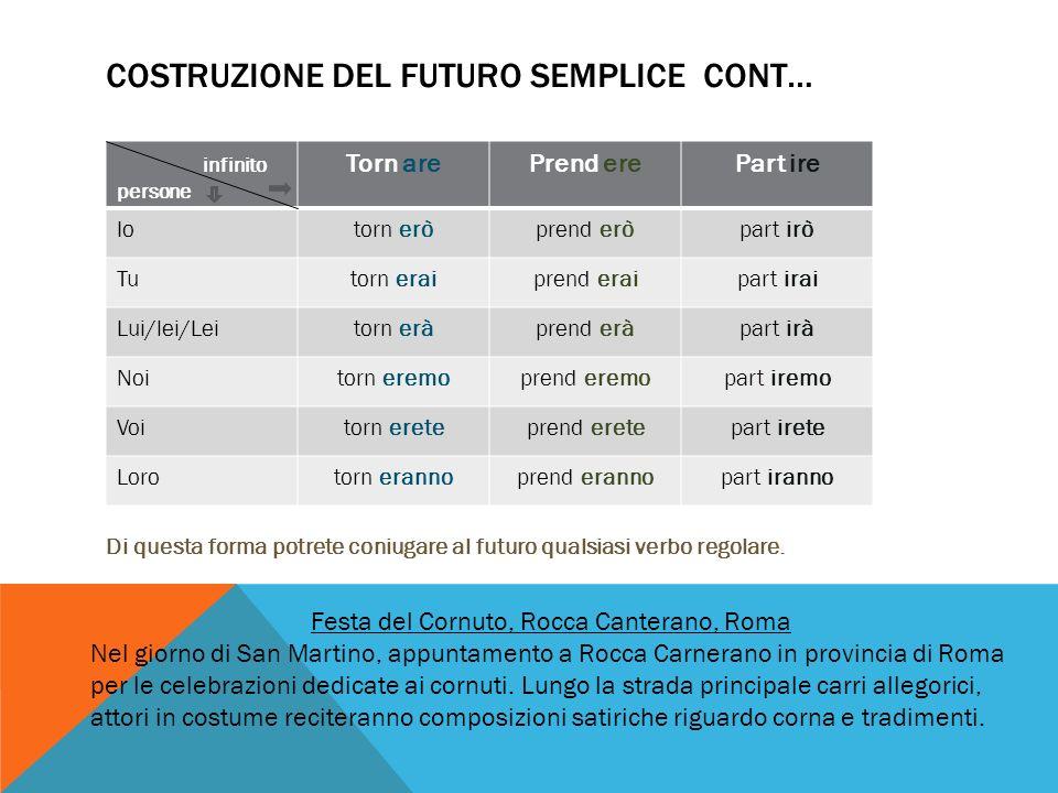 COSTRUZIONE DEL FUTURO SEMPLICE CONT… Di questa forma potrete coniugare al futuro qualsiasi verbo regolare.