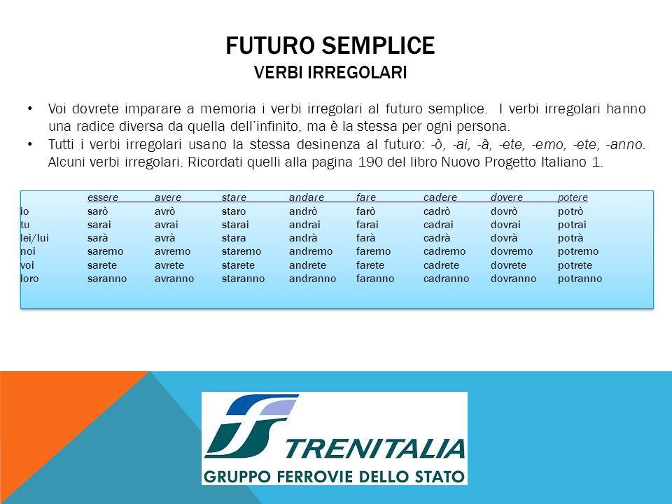 FUTURO SEMPLICE VERBI IRREGOLARI Voi dovrete imparare a memoria i verbi irregolari al futuro semplice.