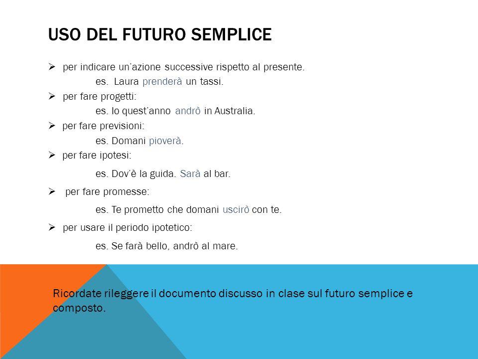 FUTURO ANTERIORE Si forma con lausiliare al futuro semplice di essere o avere, secondo sia il caso, e il participio passato.