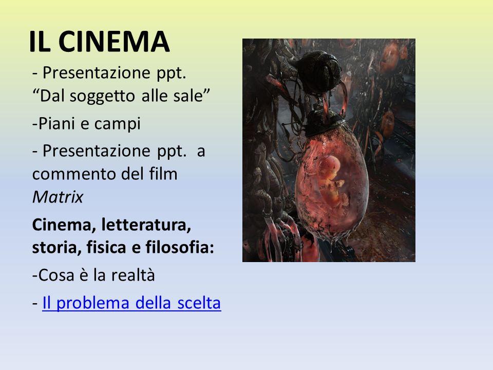 IL CINEMA - Presentazione ppt. Dal soggetto alle sale -Piani e campi - Presentazione ppt. a commento del film Matrix Cinema, letteratura, storia, fisi