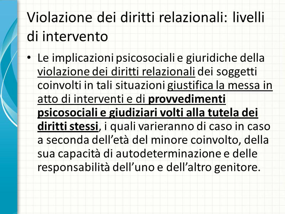 Violazione dei diritti relazionali: livelli di intervento Le implicazioni psicosociali e giuridiche della violazione dei diritti relazionali dei sogge