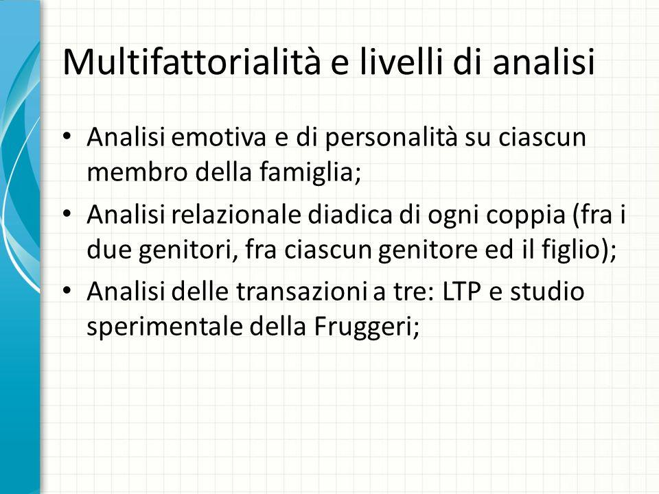 Multifattorialità e livelli di analisi Analisi emotiva e di personalità su ciascun membro della famiglia; Analisi relazionale diadica di ogni coppia (