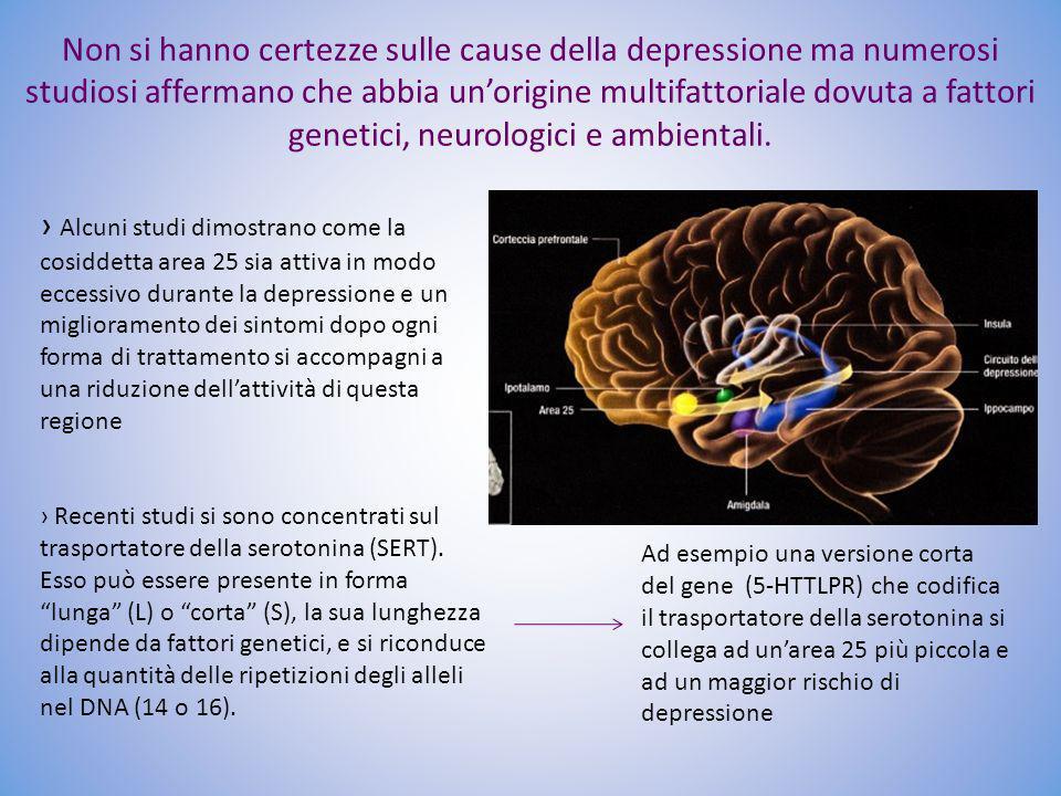 Non si hanno certezze sulle cause della depressione ma numerosi studiosi affermano che abbia unorigine multifattoriale dovuta a fattori genetici, neur