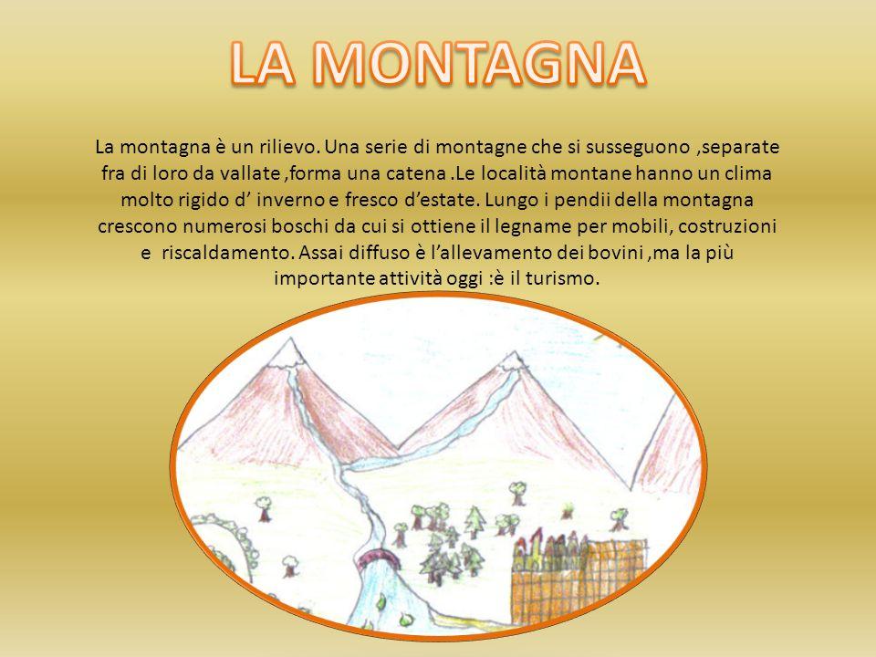 La montagna è un rilievo. Una serie di montagne che si susseguono,separate fra di loro da vallate,forma una catena.Le località montane hanno un clima