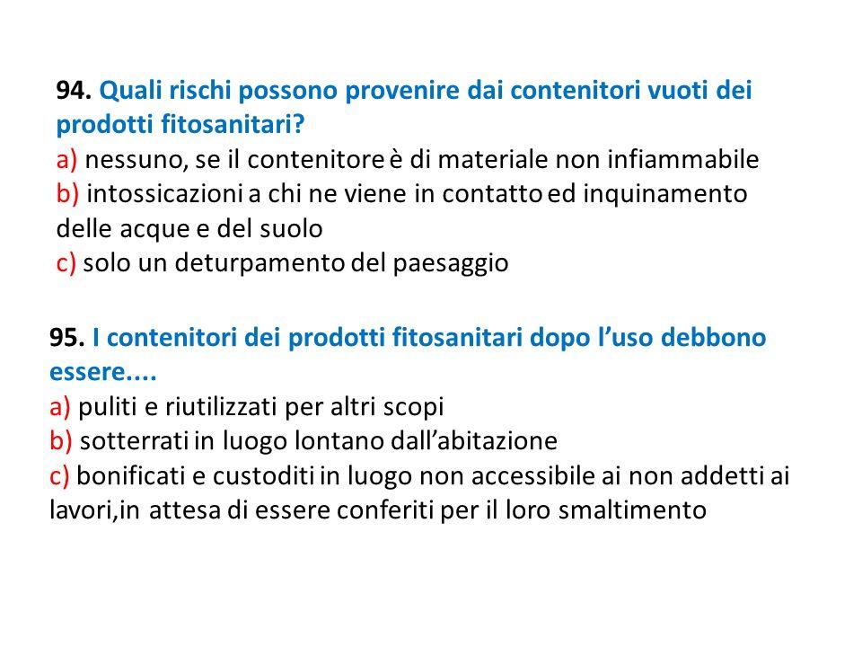 94. Quali rischi possono provenire dai contenitori vuoti dei prodotti fitosanitari? a) nessuno, se il contenitore è di materiale non infiammabile b) i