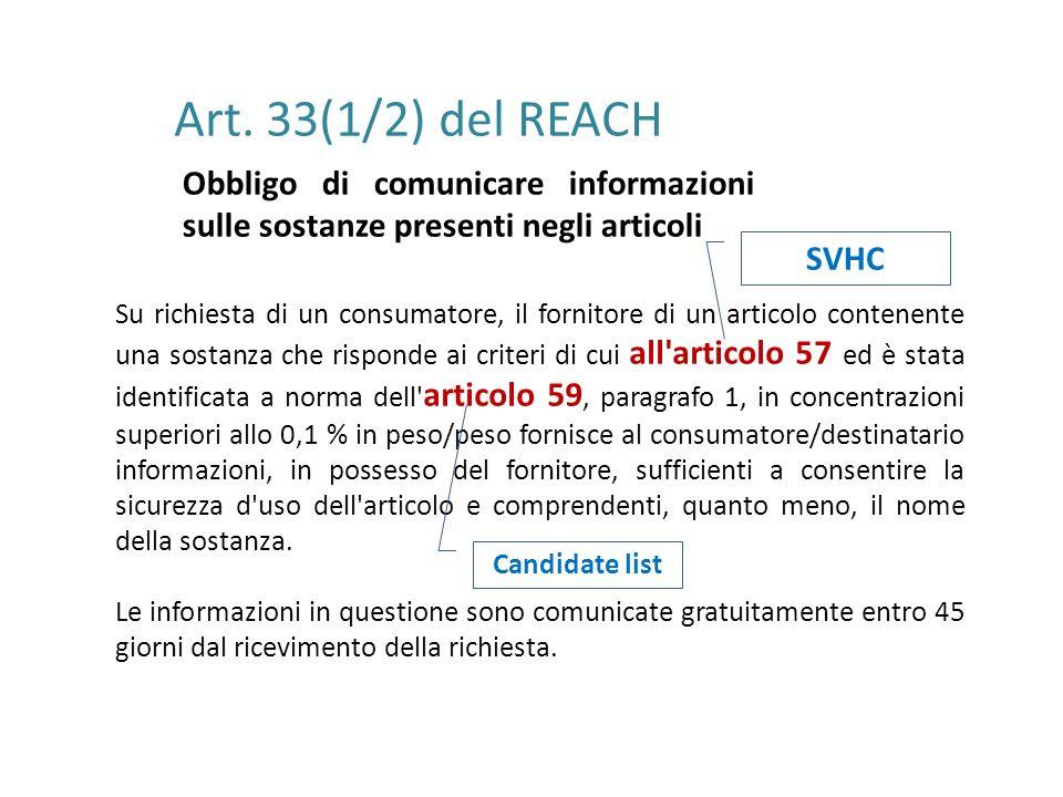 Art. 33(1/2) del REACH Obbligo di comunicare informazioni sulle sostanze presenti negli articoli Su richiesta di un consumatore, il fornitore di un ar