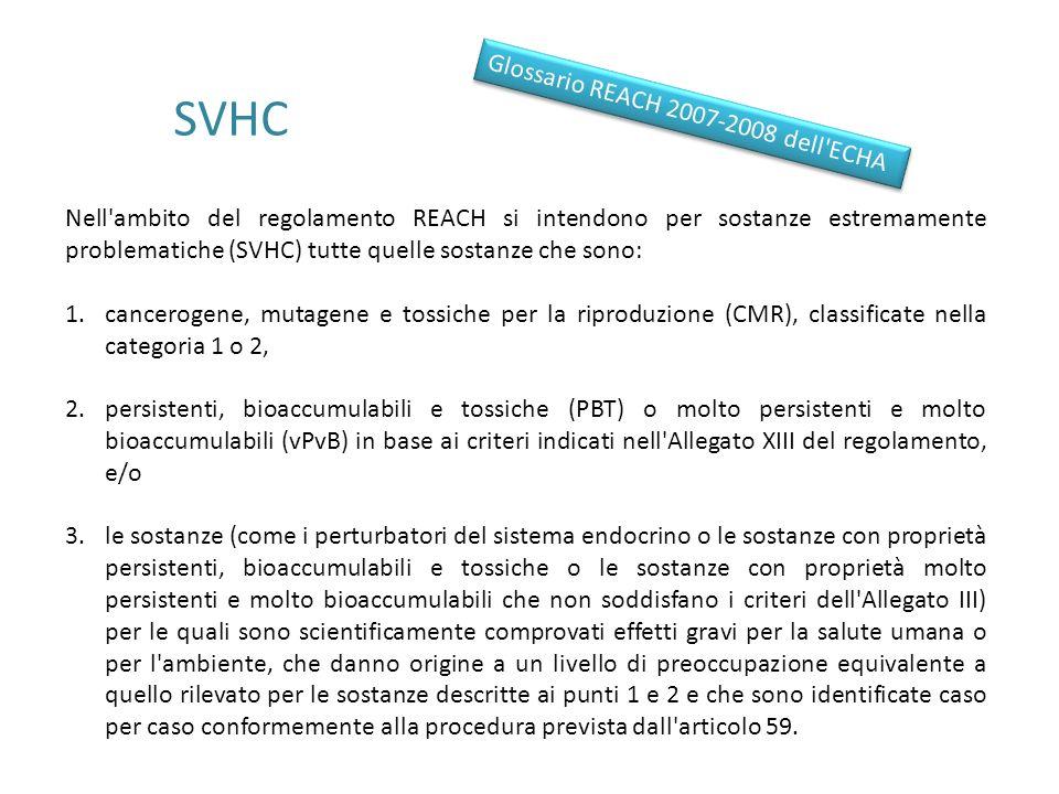 SVHC Nell'ambito del regolamento REACH si intendono per sostanze estremamente problematiche (SVHC) tutte quelle sostanze che sono: 1.cancerogene, muta