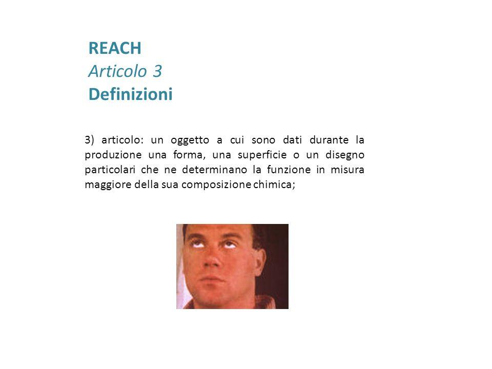 Per capire se si tratta effettivamente di un articolo rispondente alla definizione REACH è necessario distinguere tra: Articolo a rilascio intenzionale Sostanza/Miscela allinterno di un contenitore Articolo a rilascio non intenzionale Sostanza/Miscela