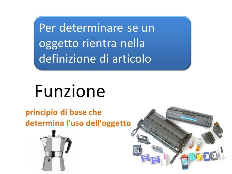 Caratteristiche Per determinare se un oggetto rientra nella definizione di articolo La forma, la superficie e il disegno di un oggetto Imballaggio