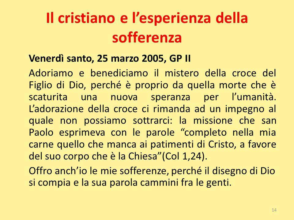 Il cristiano e lesperienza della sofferenza Venerdì santo, 25 marzo 2005, GP II Adoriamo e benediciamo il mistero della croce del Figlio di Dio, perch